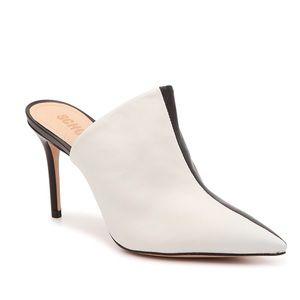 Schutz Freeya Black White Stiletto Heel Mule